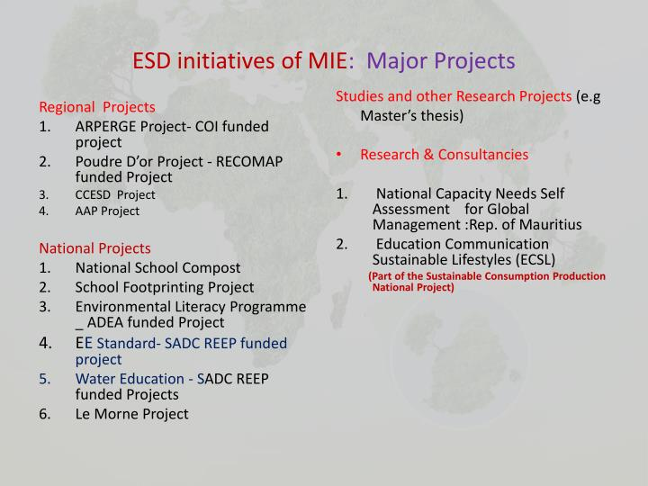 ESD initiatives of MIE