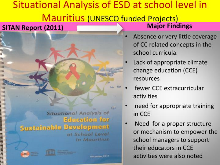 Situational Analysis of ESD at school level in Mauritius