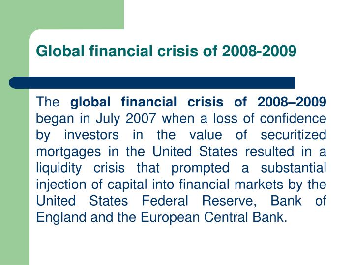 Global financial crisis of 2008-2009