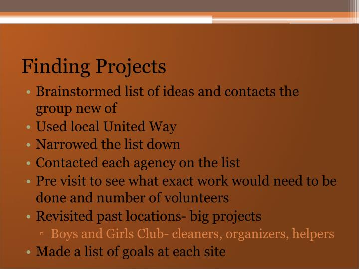 Finding Projects