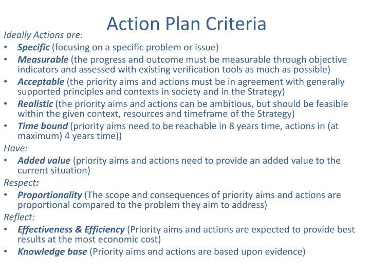 Action Plan Criteria