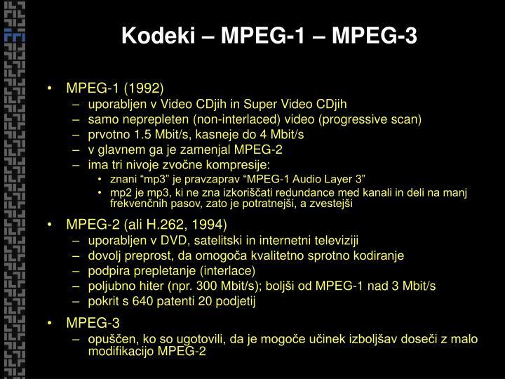 Kodeki – MPEG-1 – MPEG-3