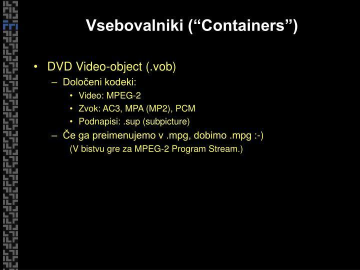 """Vsebovalniki (""""Containers"""")"""