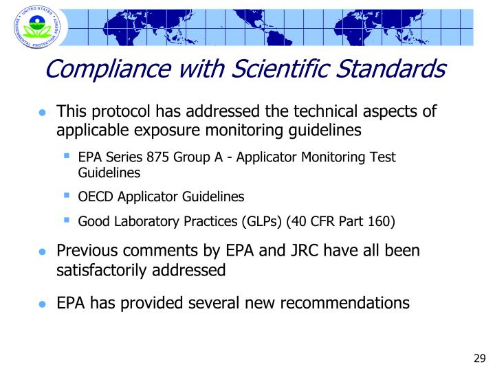 Compliance with Scientific Standards