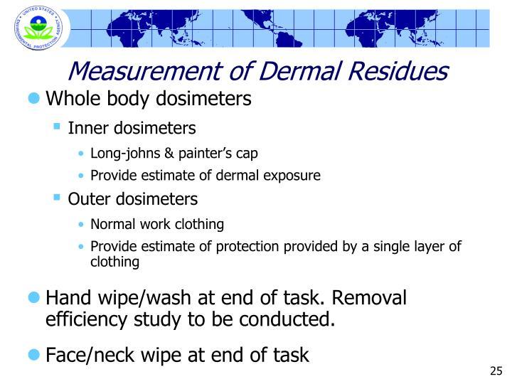 Measurement of Dermal Residues