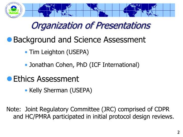 Organization of Presentations