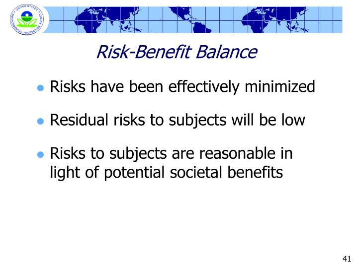 Risk-Benefit Balance
