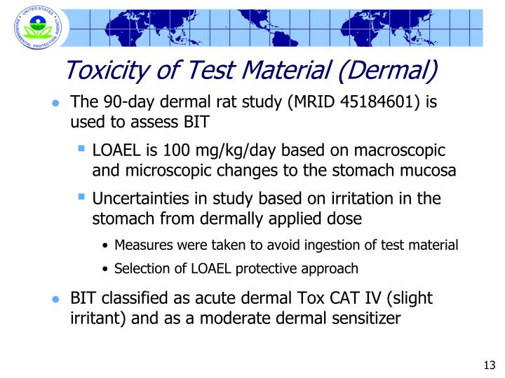Toxicity of Test Material (Dermal)