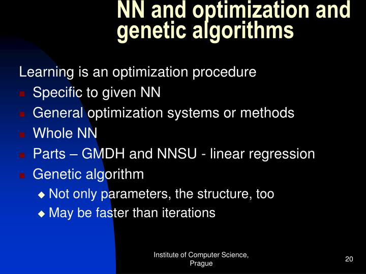 NN and optimization and genetic algorithms