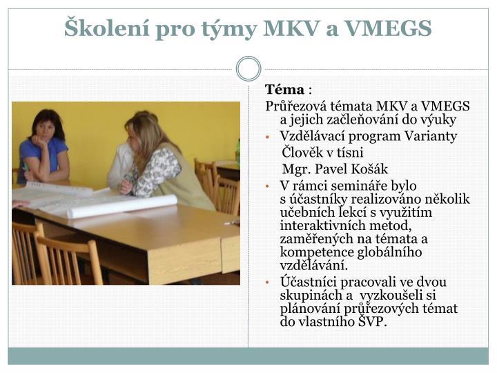 Školení pro týmy MKV a VMEGS
