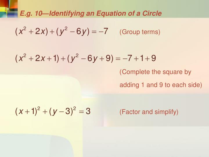 E.g. 10—Identifying an Equation of a Circle