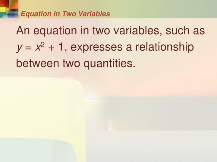 Equation in Two Variables