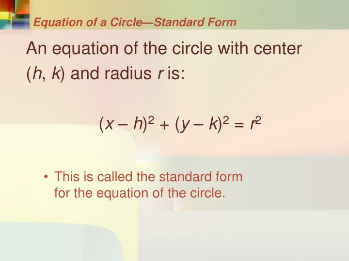 Equation of a Circle—Standard Form