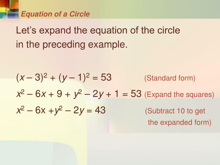 Equation of a Circle