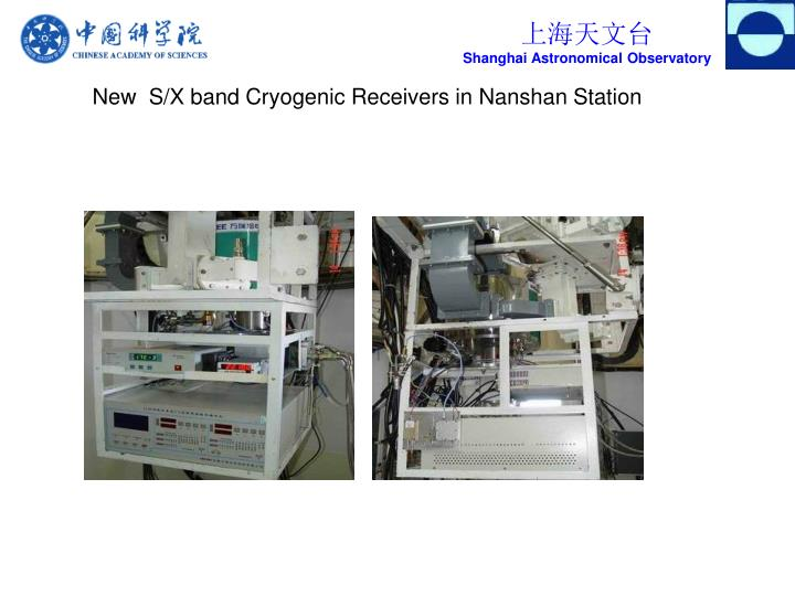 New  S/X band Cryogenic Receivers in Nanshan Station