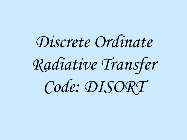 Discrete Ordinate Radiative Transfer Code: DISORT