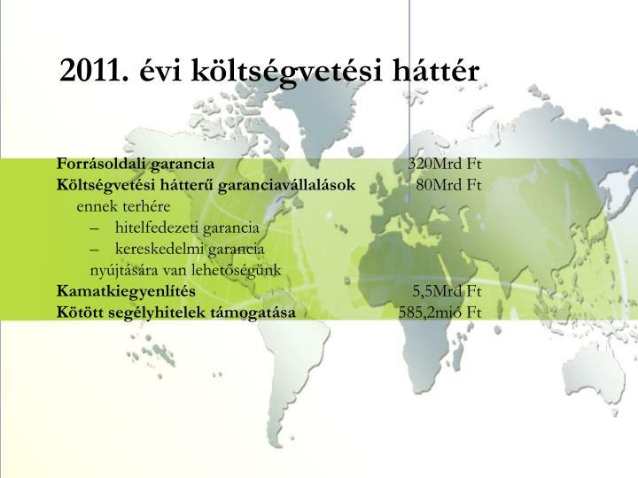 2011. évi költségvetési háttér