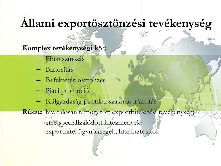 Állami exportösztönzési tevékenység