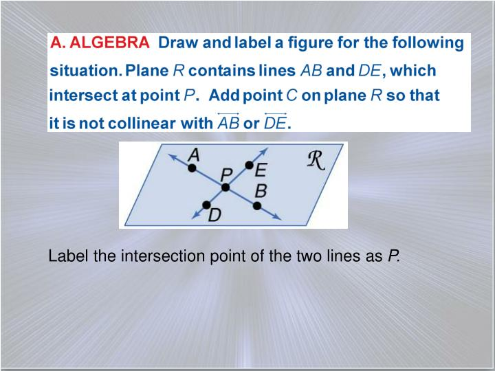 Label the intersection point of the two lines as