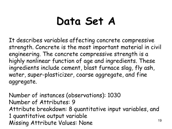 It describes variables affecting concrete compressive strength. Concrete is the most important material in civil engineering. The concrete compressive strength is a highly nonlinear function of age and ingredients. These ingredients include cement, blast furnace slag, fly ash, water, super-plasticizer, coarse aggregate, and fine aggregate.
