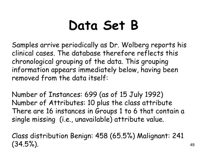 Samples arrive periodically as Dr. Wolberg reports his clinical cases. The database therefore reflects this chronological grouping of the data. This grouping information appears immediately below, having been removed from the data itself: