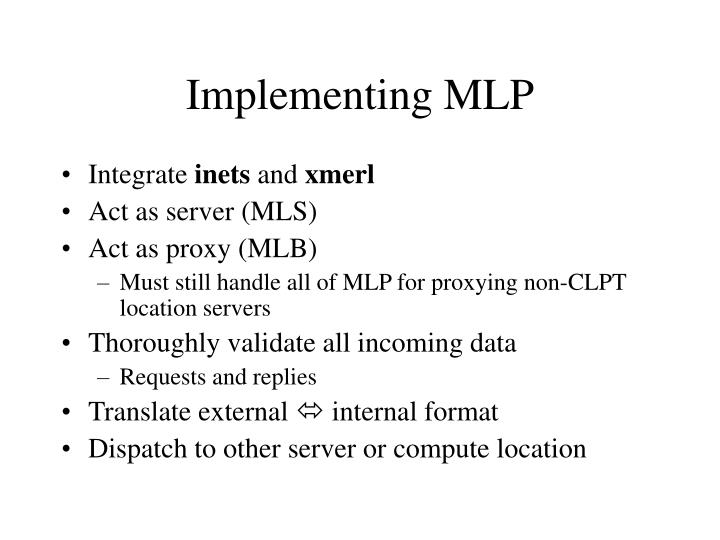 Implementing MLP