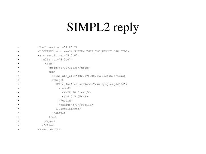 SIMPL2 reply