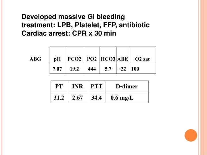 Developed massive GI bleeding