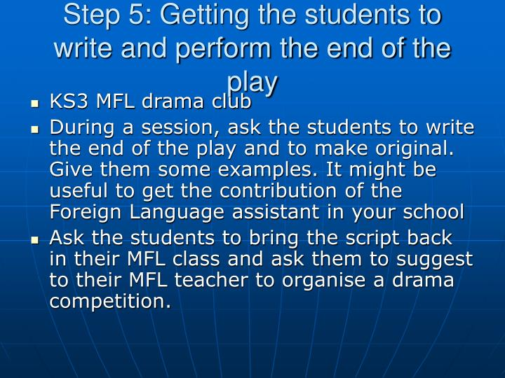 Step 5: Getting the students to write and perform the end of the play