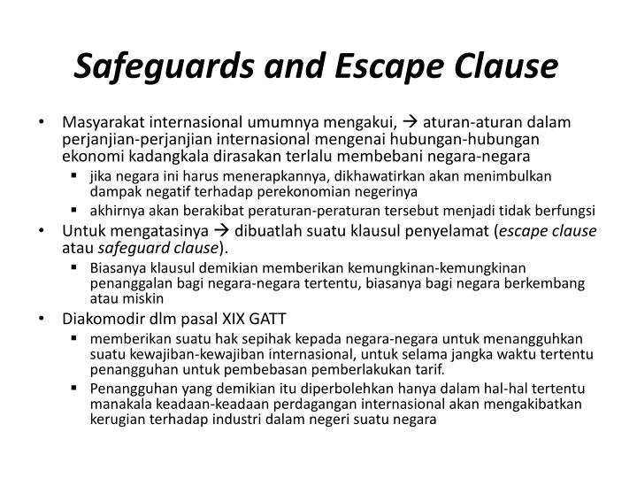 Safeguards and Escape Clause