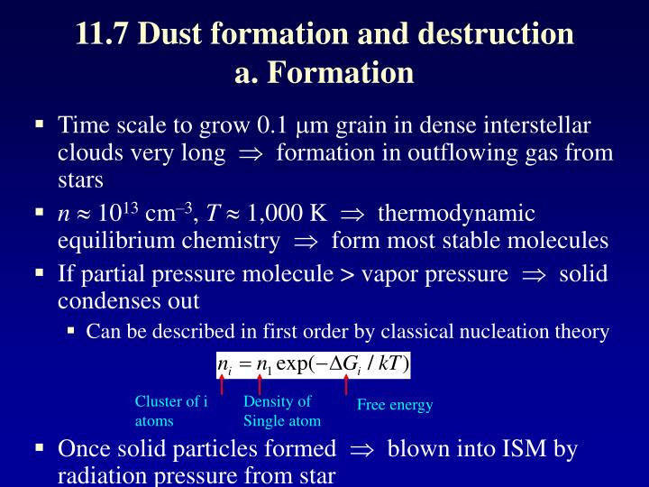 11.7 Dust formation and destruction