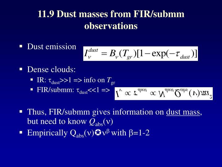 11.9 Dust masses from FIR/submm observations