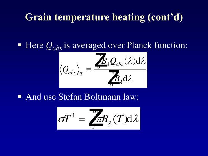 Grain temperature heating (cont'd)