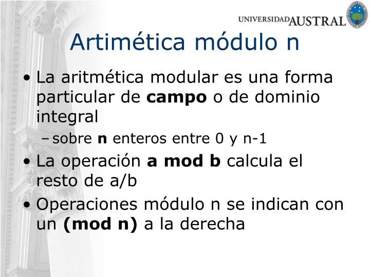 Artimética módulo n