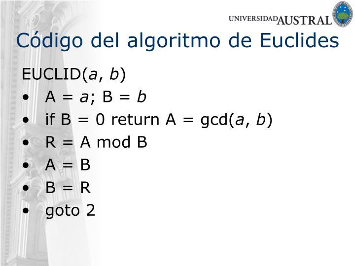 Código del algoritmo de Euclides