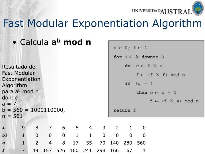 Fast Modular Exponentiation Algorithm