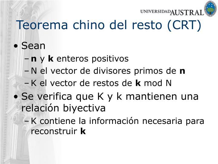 Teorema chino del resto (CRT)