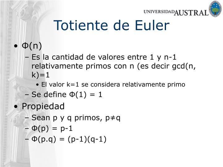 Totiente de Euler