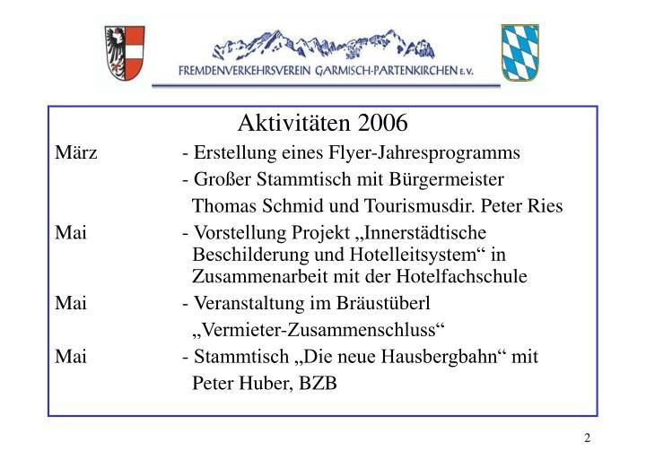 Aktivitäten 2006