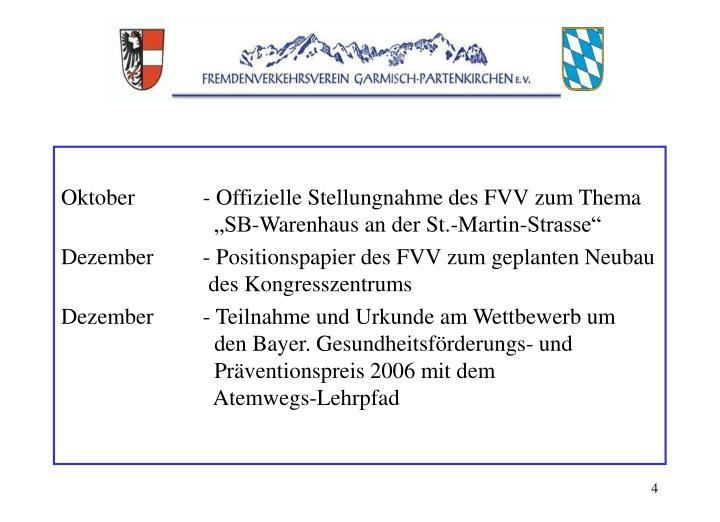 """Oktober- Offizielle Stellungnahme des FVV zum Thema  """"SB-Warenhaus an der St.-Martin-Strasse"""""""