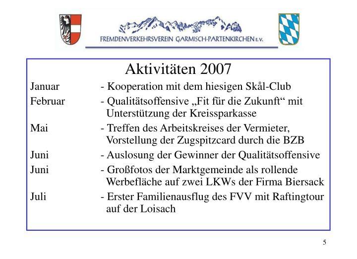 Aktivitäten 2007
