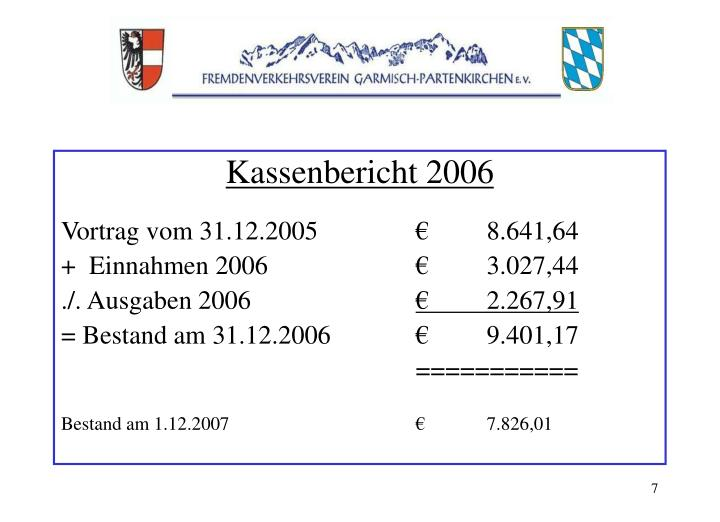 Kassenbericht 2006