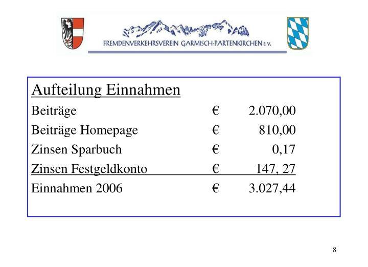 Aufteilung Einnahmen