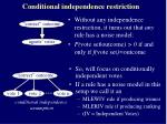 conditional independence restriction