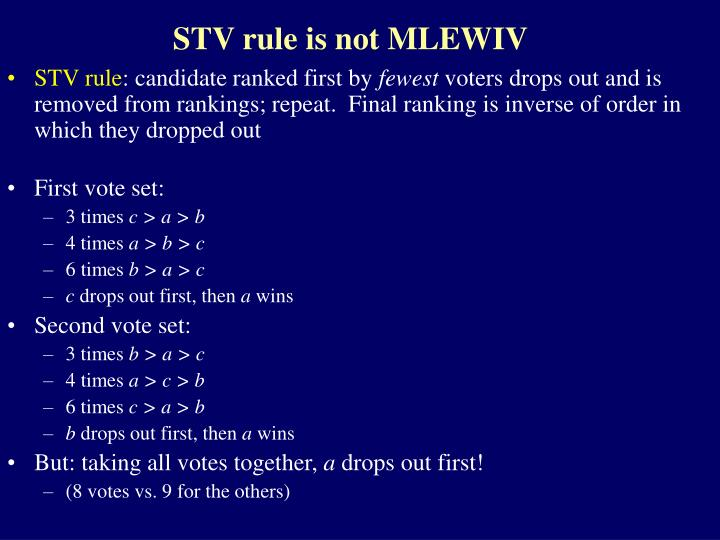 STV rule is not MLEWIV