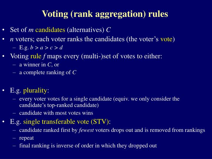 Voting rank aggregation rules