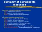summary of components discussed