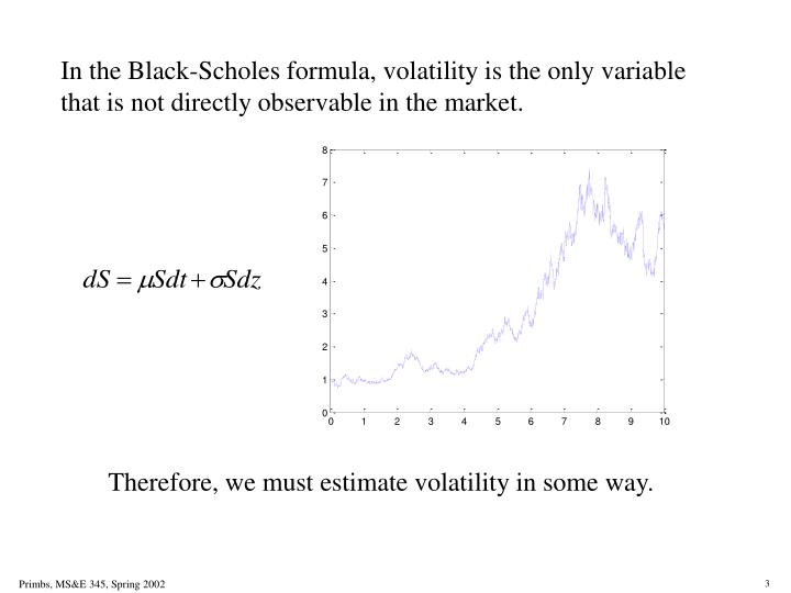 In the Black-Scholes formula, volatility is the only variable that is not directly observable in the market.