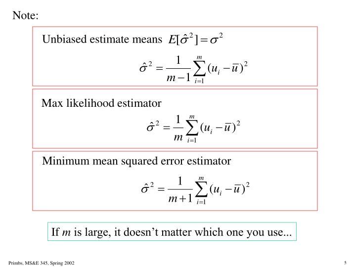 Unbiased estimate means