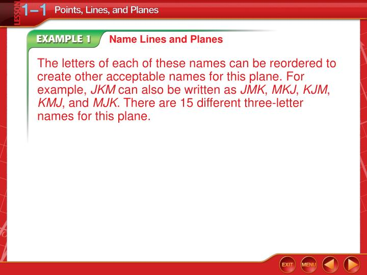 Name Lines and Planes